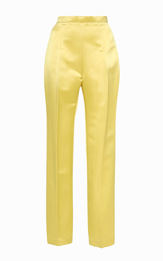 Canary Yellow Pressed Crease Matchstick Pant by KATIE ERMILIO Now Available on Moda Operandi