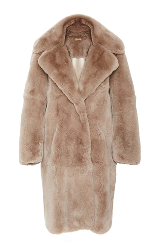 Medium katie ermilio brown rabbit open front pea coat