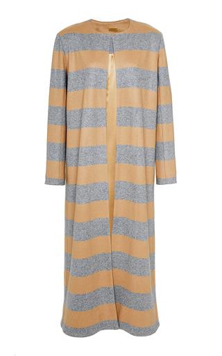 Medium katie ermilio print cashmere striped slip coat