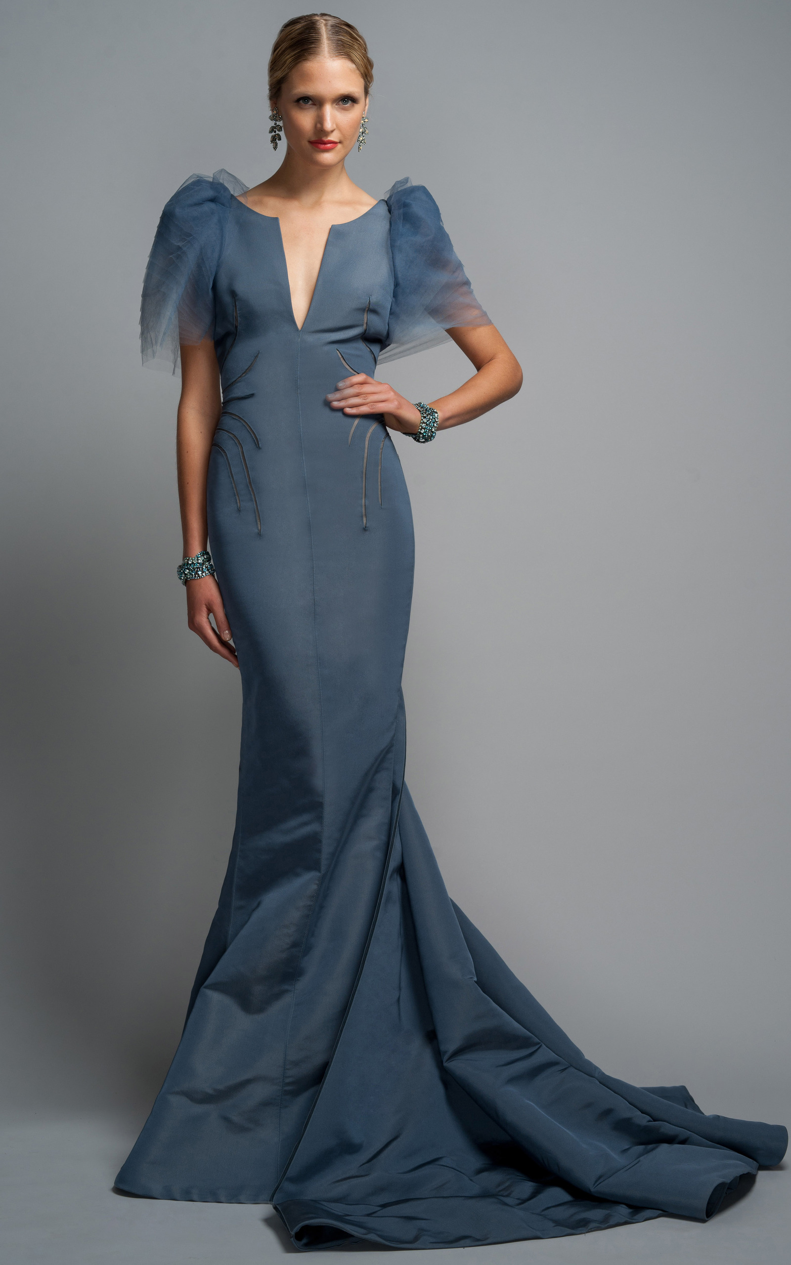 Steel Blue Evening Gown By Zac Posen Moda Operandi