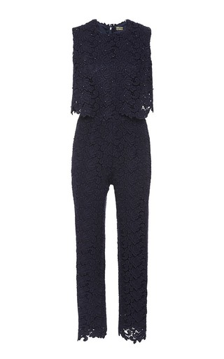 Floral Wool Lace Jump Suit by KATIE ERMILIO Now Available on Moda Operandi