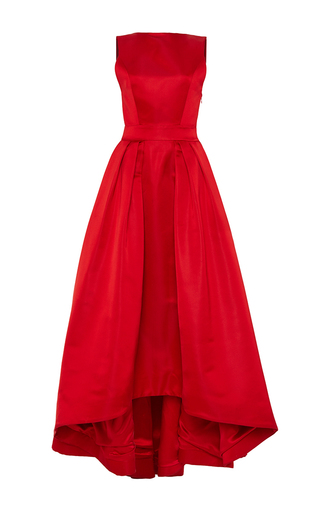 Medium katie ermilio red high to low hem box pleat train gown