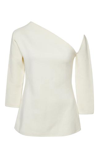 Medium rosie assoulin white merino wool cold shoulder sweater