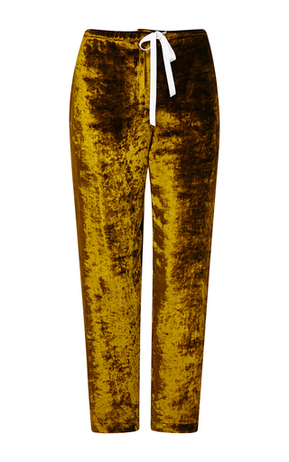 Medium rosie assoulin yellow brass ox pane velvet drawstring pant
