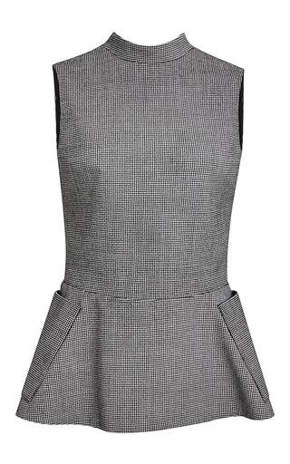 Medium rosie assoulin dark grey houndstooth wool genet top