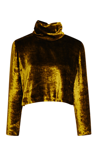 Medium rosie assoulin yellow pane velvet cropped turtleneck