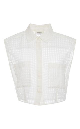 Medium isa arfen white cropped sleeveless shirt