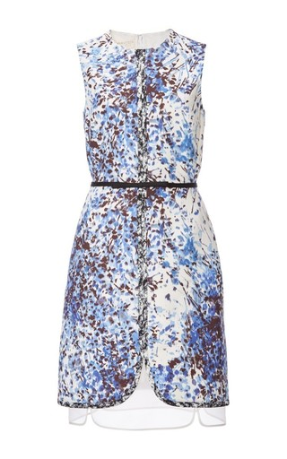 Medium giambattista valli blue sleeveless dress with sheer underlay