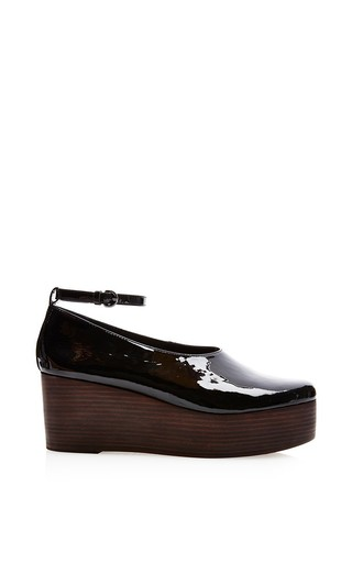 Medium tibi black patent jemma flatform shoe