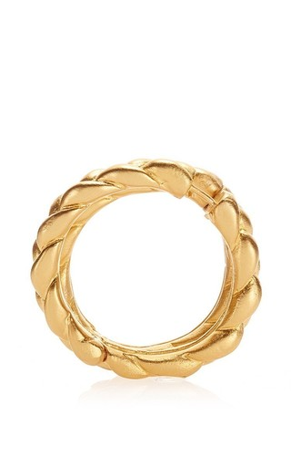Medium tibi gold luca double piercing braided hoop earring