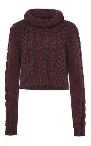 Medium tibi red cable sweater bi color pullover