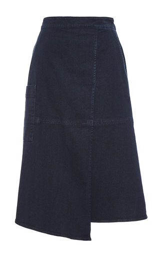 Medium tibi blue denim wrap midi skirt