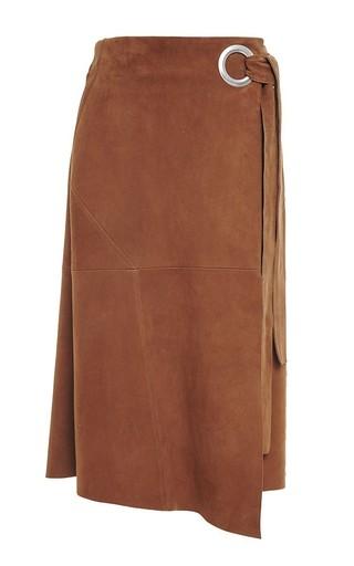 Medium tibi brown walnut suede wrap skirt