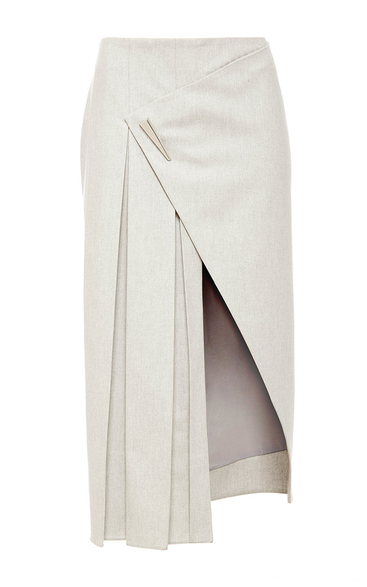 b6627ba52c Cashmere Flannel Asymmetrical Pleated Skirt by Prabal Gurung | Moda ...