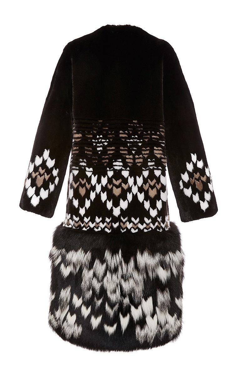 Mink And Fox Fur Faire Isle Intarsia Coat By Prabal Moda