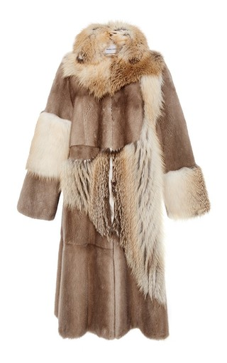 Medium prabal gurung brown mink and fox fur patchwork coat