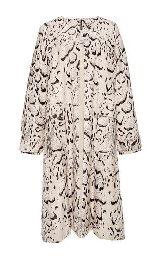 Snow Leopard Printed Velveteen Coat by PRABAL GURUNG Now Available on Moda Operandi