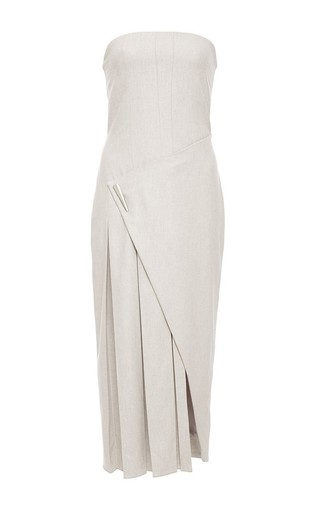 Cashmere Flannel Asymmetrical Pleated Strapless Dress by PRABAL GURUNG Now Available on Moda Operandi