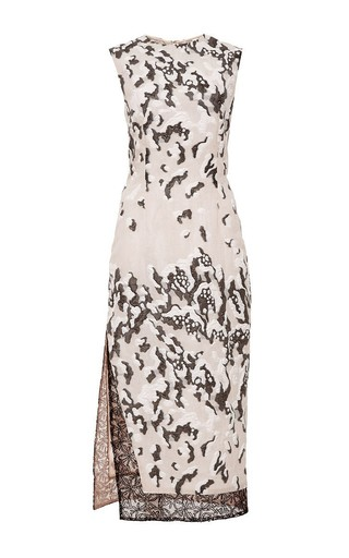 Medium prabal gurung nude snow leopard sheath dress with graphic hem