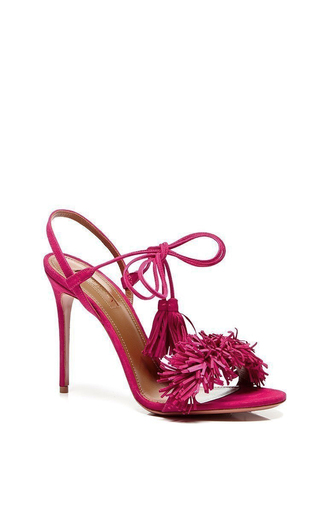 Wild Thing Suede Sandals In Pink by AQUAZZURA Now Available on Moda Operandi