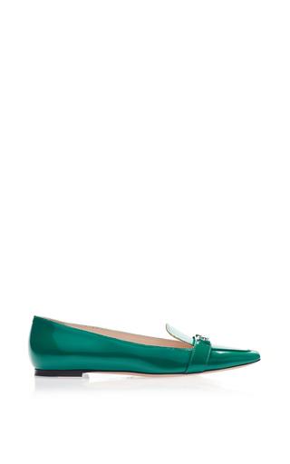 Medium bally green green leather slipper