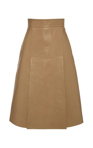 Medium bally brown a line beige leather skirt