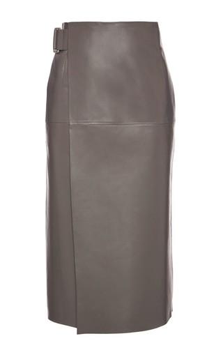 Medium bally brown a line grey leather skirt