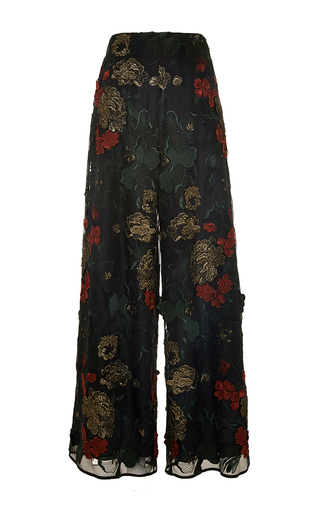 Medium rosetta getty multi floral filigree embroidered palazzo pant