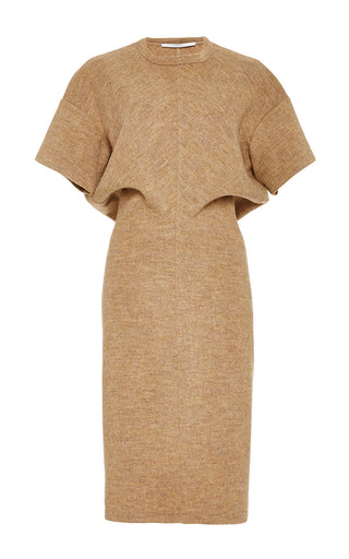 Medium rosetta getty brown fluid wool melton interlock torqued t shirt dress