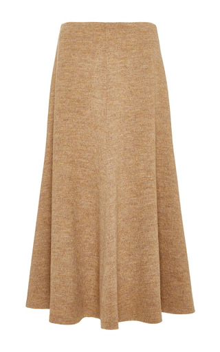 Medium rosetta getty brown fluid wool melton interlock flared skirt