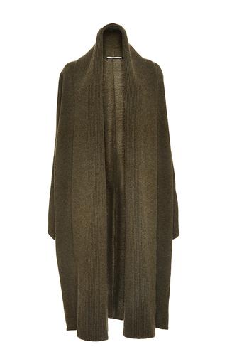 Medium rosetta getty green moss cashmere merino split scarf cardigan