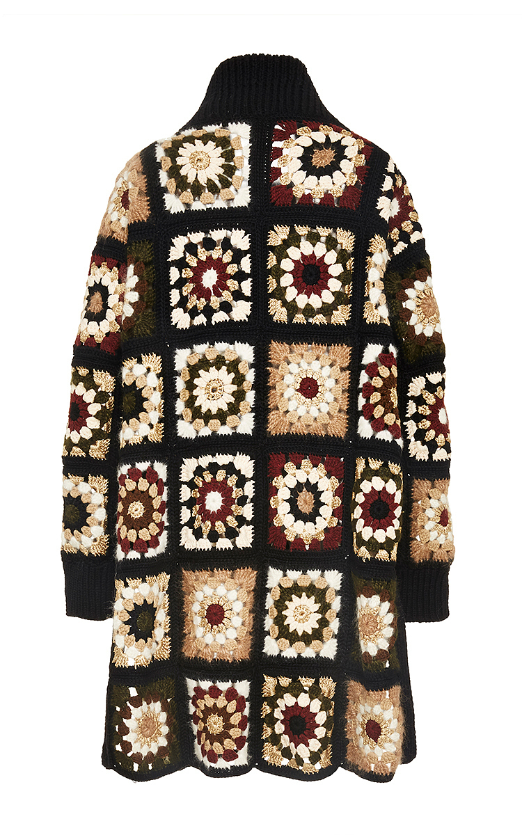 Mixed Media Granny Square Cardigan By Rosetta Getty Moda