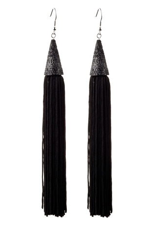 Medium eddie borgo black silk tassel pave cone drop earrings 2
