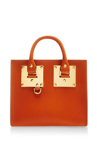 Medium sophie hulme orange albion box tote bag in burnt orange