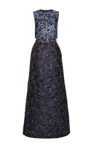 Medium zac posen blue floral embroidered two piece gown