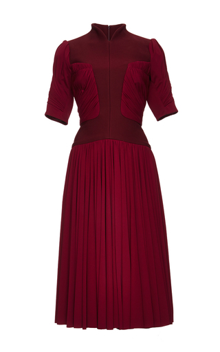 Medium zac posen red bonded crepe and draped jersey cocktail dress
