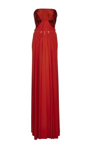 Medium zac posen orange duchesse and jersey anatomical cutout column dress