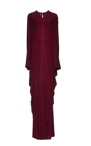 Medium zac posen red jersey draped cape gown