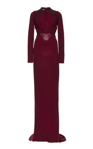Medium zac posen red bonded crepe and draped jersey long sleeve column gown