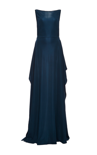 Medium zac posen blue jersey slash gown