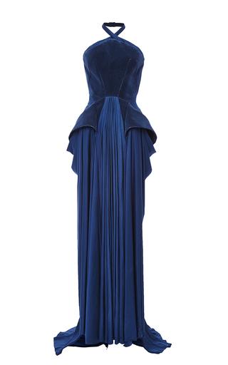 Medium zac posen blue flocked velvet and jersey architectural halter gown