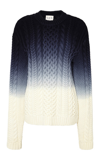 Medium sea blue ombre knit sweater