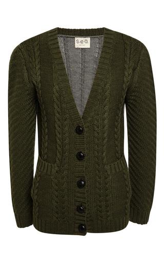 Medium sea green combo cable knit cardigan