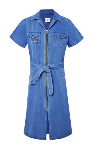Medium sea blue washed twill tied zip twill dress
