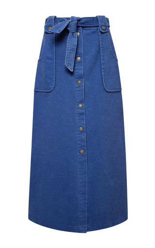 Medium sea blue washed twill button down maxi skirt