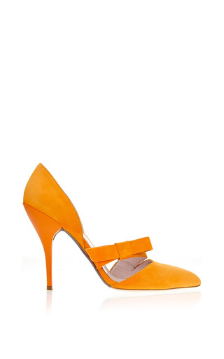 Medium oscar de la renta orange fauna tangerine bow pump