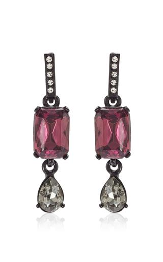Medium oscar de la renta purple ultra violet octagon and pear stone earring