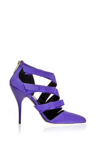 Medium oscar de la renta purple fleur ultraviolet suede pump
