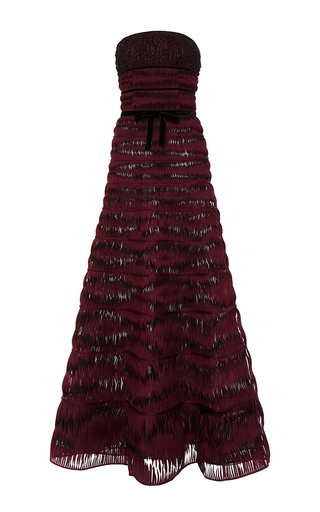 Medium oscar de la renta burgundy embroidered strapless ribbon twirl gown