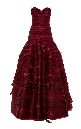 Medium oscar de la renta burgundy strapless sweetheart neck organza taffeta embroidery gown